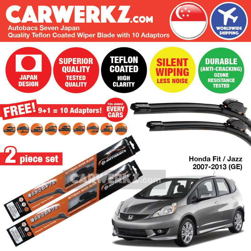 "Autobacs Seven Japan Teflon Coated Flex Aerodynamic Wiper Blade with 10 Adaptors for Honda Fit Jazz 2007-2013 2nd Generation (GE) (26""+14"") - CarWerkz"