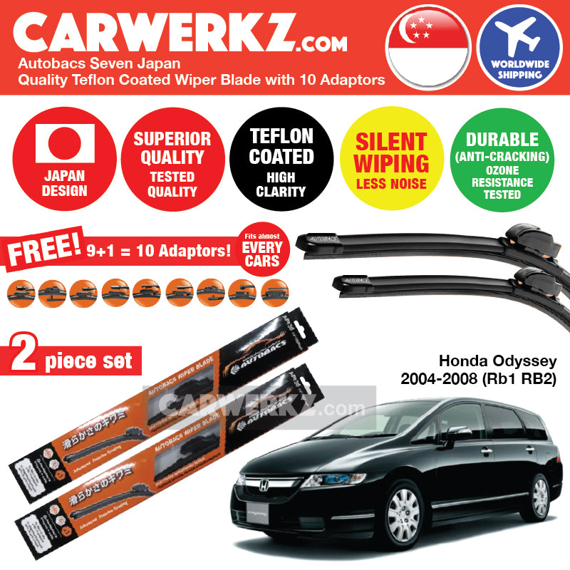 "Autobacs Seven Japan Teflon Coated Flex Aerodynamic Wiper Blade with 10 Adaptors for Honda Odyssey 2004-2008 3rd Generation (RB1 RB2) (28""+14"") - CarWerkz"