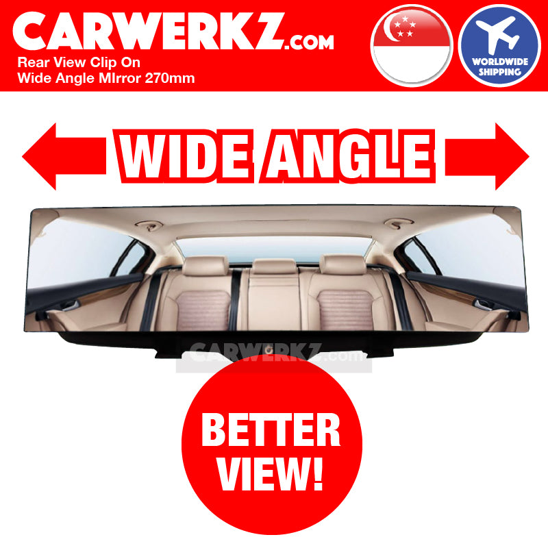 Rear View Clip On Wide Angle Mirror 270mm - CarWerkz
