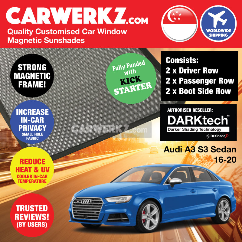 DARKtech Audi A3 S3 Sedan 2016-2019 Customised Germany Car Window Magnetic Sunshades Side Windows 6 Pieces - CarWerkz