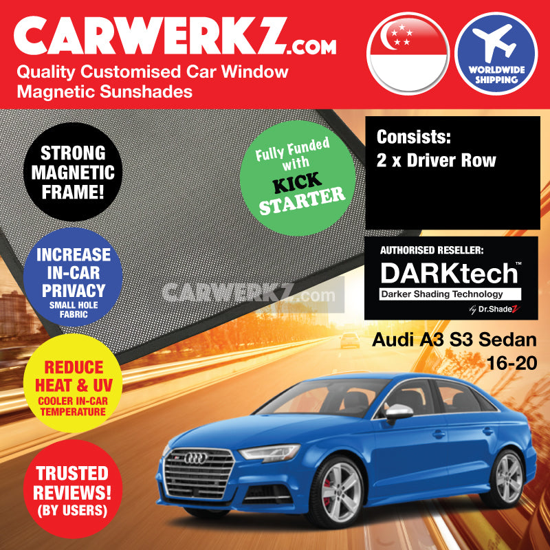 DARKtech Audi A3 S3 Sedan 2016-2019 Customised Germany Car Window Magnetic Sunshades Driver Windows 2 Pieces - CarWerkz