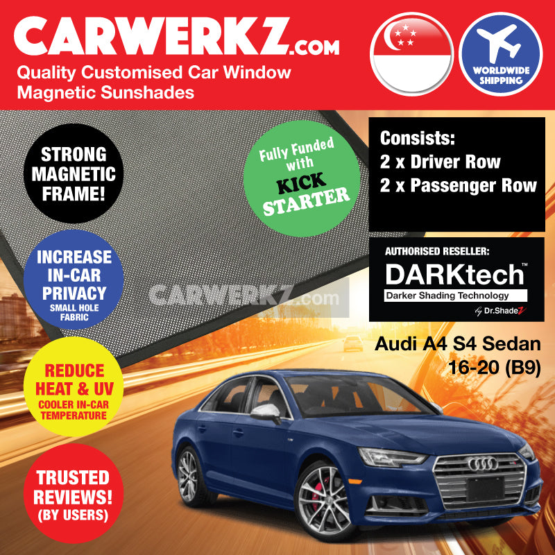 DARKtech Audi A4 S4 Sedan 2016-2019 B9 Customised Germany Car Window Magnetic Sunshades Side Windows 4 Pieces - CarWerkz