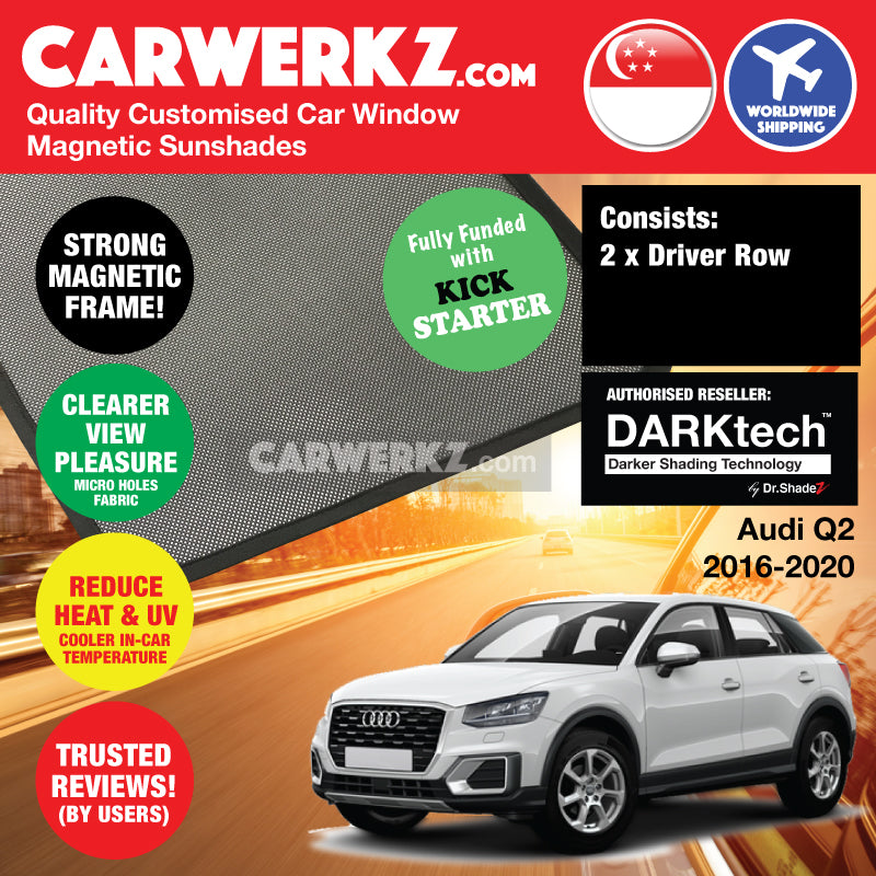 DARKtech Audi Q2 2016-2019 Germany Compact SUV Customised Magnetic Sunshades Driver Windows 2 Pieces - CarWerkz