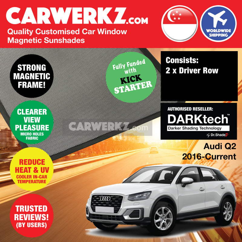 DARKtech Audi Q2 2016-Current 1st Generation Customised German Luxury Compact Crossover SUV Window Magnetic Sunshades