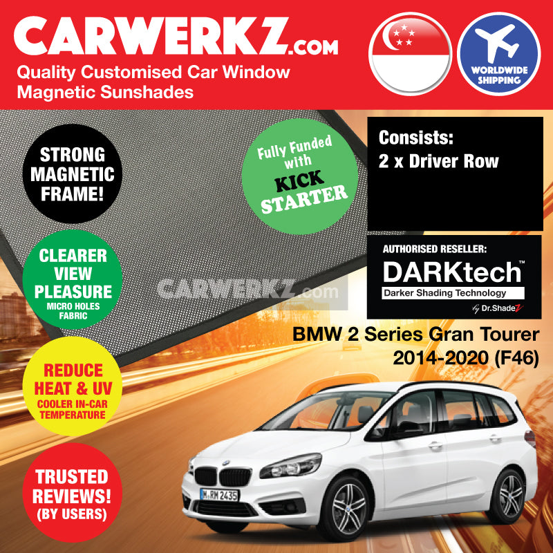 DARKtech BMW 2 Series Gran Tourer 2014-2018 (F46) Customised Japan Car Window Magnetic Sunshades Driver Windows 2 Pieces - CarWerkz