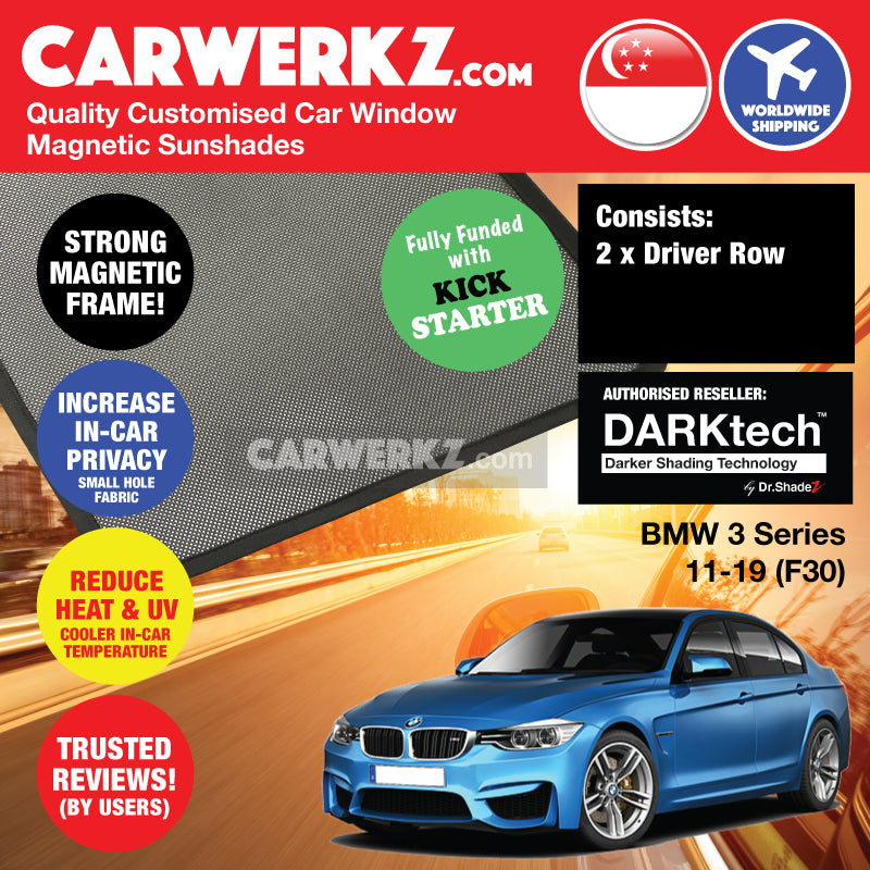 DARKtech BMW 3 series 2011-2019 6th Generation (F30) Customised Luxury Germany Sedan Car Window Magnetic Sunshades - carwerkz singapore australia