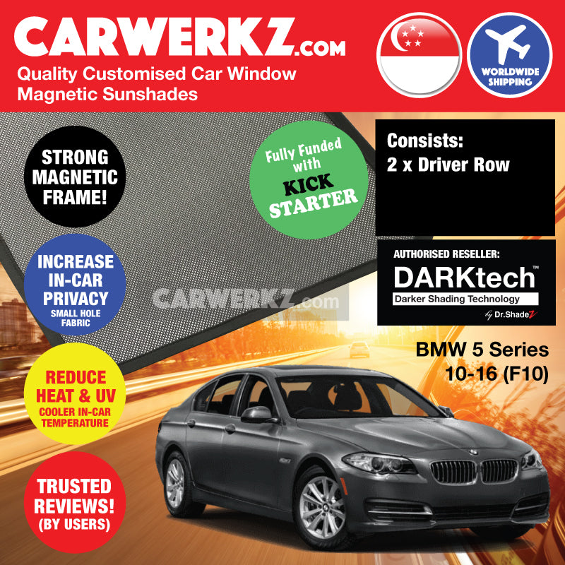 DARKtech BMW 5 Series Sedan 2010-2016 F10 Customised Germany Car Window Magnetic Sunshades Driver Windows 2 Pieces - CarWerkz