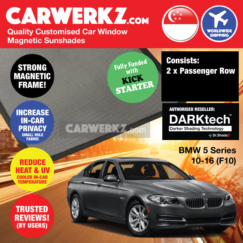 DARKtech BMW 5 Series Sedan 2010-2016 F10 Customised Germany Car Window Magnetic Sunshades Passenger Windows 2 Pieces - CarWerkz