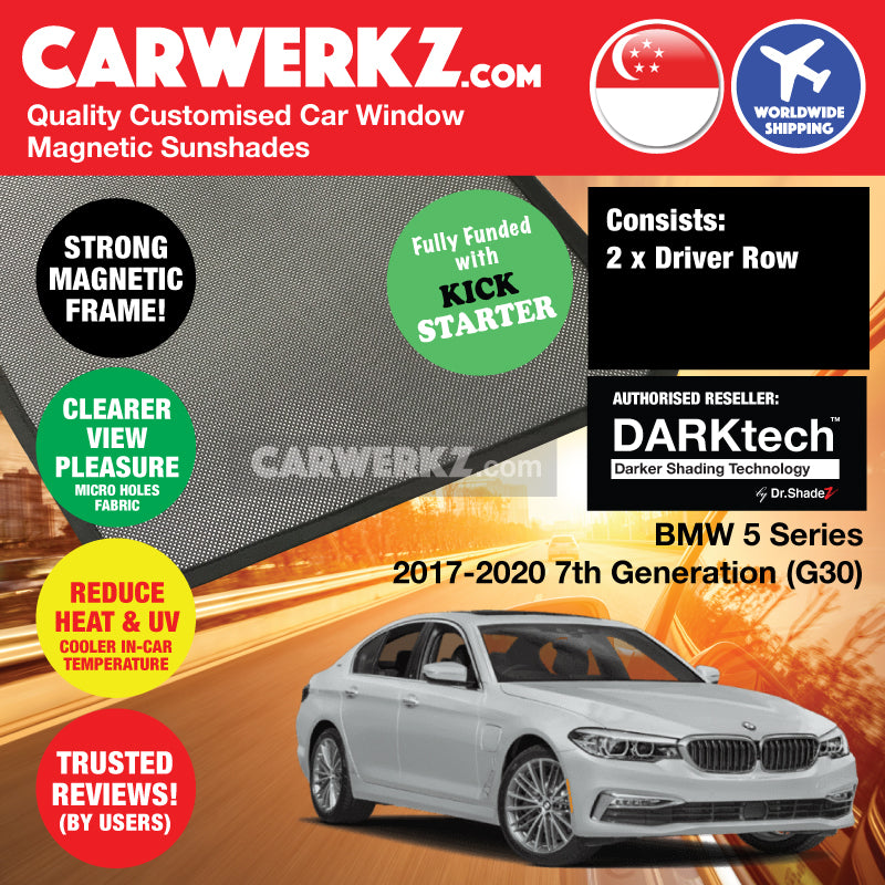 Dr Shadez DARKtech BMW 5 Series 2017 2018 2019 7th Generation (G30) Customised Germany Car Window Magnetic Sunshades Driver Windows 2 Pieces - carwerkz au jp sg my