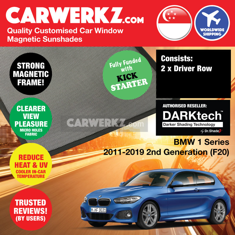 DARKtech BMW 1 Series 2011-2019 2nd Generation (F20) Customised Luxury German Hatchback Car Window Magnetic Sunshades - CarWerkz