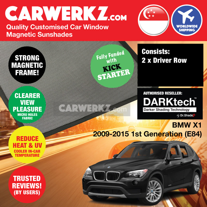 Dr Shadez DARKtech BMW X1 2009-2015 1st Generation (E84) Customised Germany SUV Window Magnetic Sunshades Driver Windows 2 Pieces - drshadez sg jp de my au