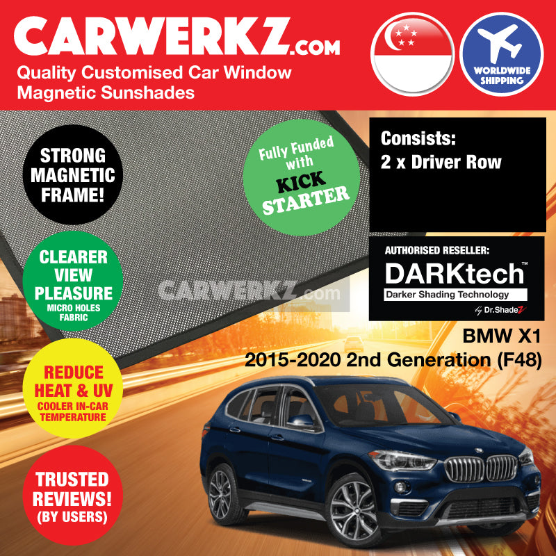 DARKtech BMW X1 2015-2019 2nd Generation (F48) Customised Germany Car Window Magnetic Sunshades Driver Windows 2 Pieces - CarWerkz
