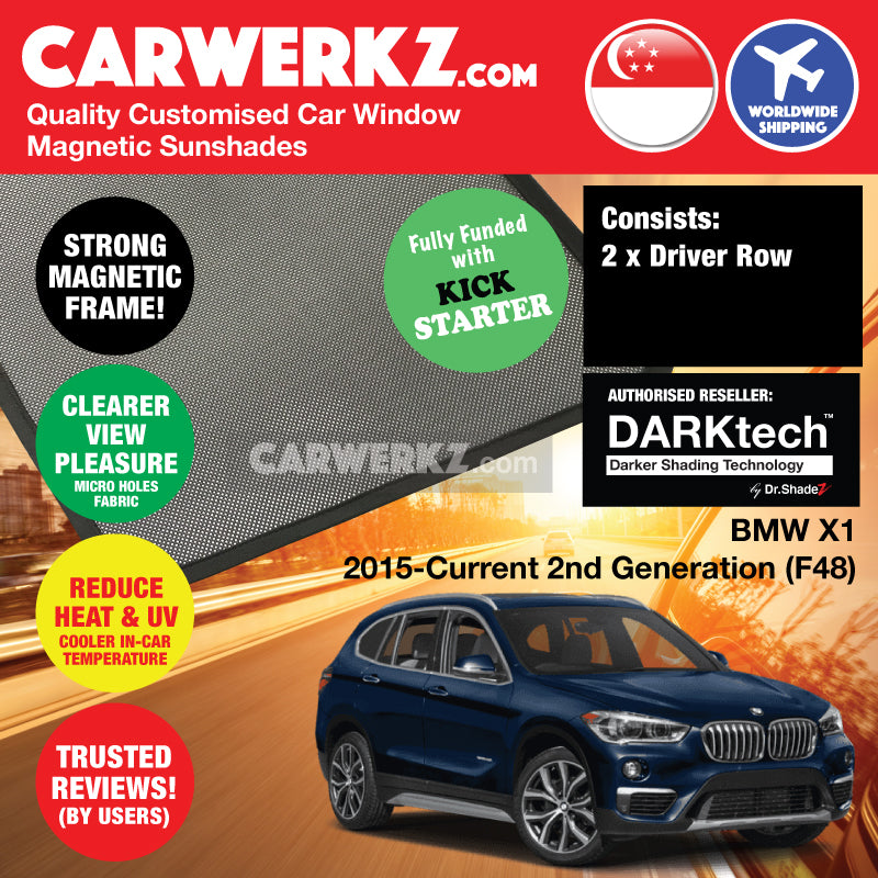 DARKtech BMW X1 2015-Current 2nd Generation (F48) Customised Luxury Germany Compact SUV Car Window Magnetic Sunshades - carwerkz singapore australia