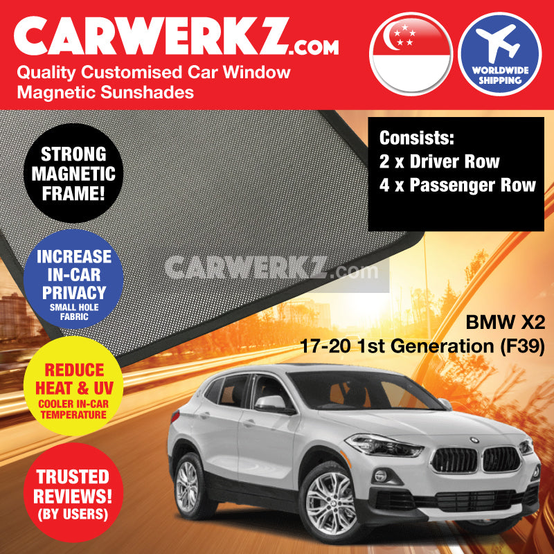 BMW X2 2017 2018 2019 2020 1st Generation (F39) Customised Germany Subcompact SUV Window Magnetic Sunshades 6 Pieces - carwerkz sg th de jp ph my