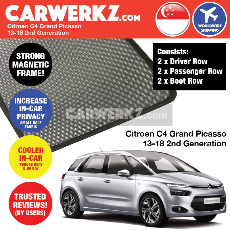 Citroen C4 Grand Picasso II Spacetourer 2013-2019 2nd Generation France Compact MPV Customised Car Window Magnetic Sunshades 6 pieces - CarWerkz