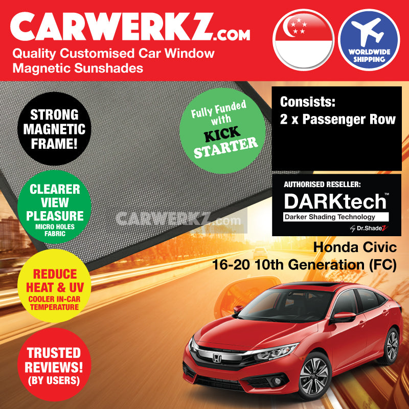 DARKtech Honda Civic 2015-2020 10th Generation (FC) Japan Sedan Customised Car Window Magnetic Sunshades - CarWerkz