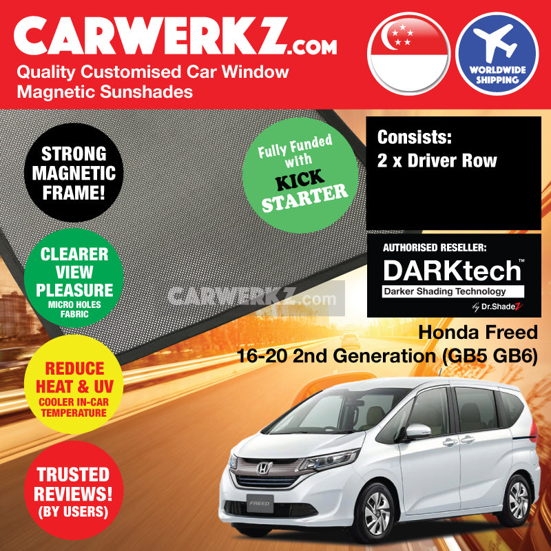 Dr Shadez DARKtech Honda Freed 2016-2019 2nd Generation (GB5 GB6) Japan Compact MPV Customised Car Window Magnetic Sunshades Driver Windows 2 Pieces - CarWerkz