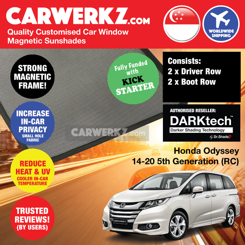 DARKtech Honda Odyssey 2013-2020 5th Generation (RC) Japan MPV Customised Car Window Magnetic Sunshades - CarWerkz