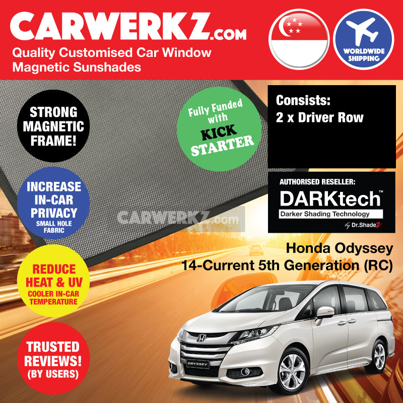 DARKtech Honda Odyssey 2013-Current 5th Generation (RC) Japan MPV Customised Car Window Magnetic Sunshades - carwerkz singapore australia japan