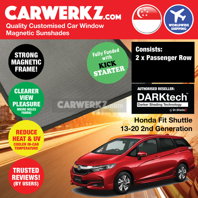 DARKtech Honda Fit Shuttle 2015-2020 2nd Generation Japan Stationwagon Customised Car Window Magnetic Sunshades Driver Windows 2 Pieces - CarWerkz
