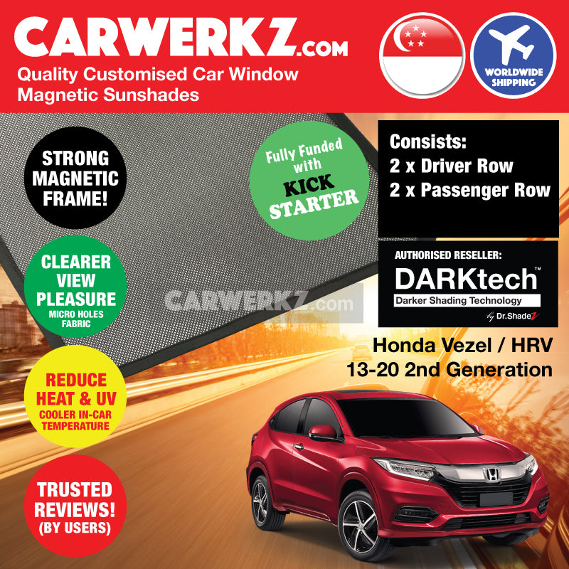 DARKtech Honda Vezel HR-V Petrol Hybrid 2013-2019 2nd Generation Japan Subcompact Crossover Customised Car Window Magnetic Sunshades Side Windows 4 Pieces - CarWerkz