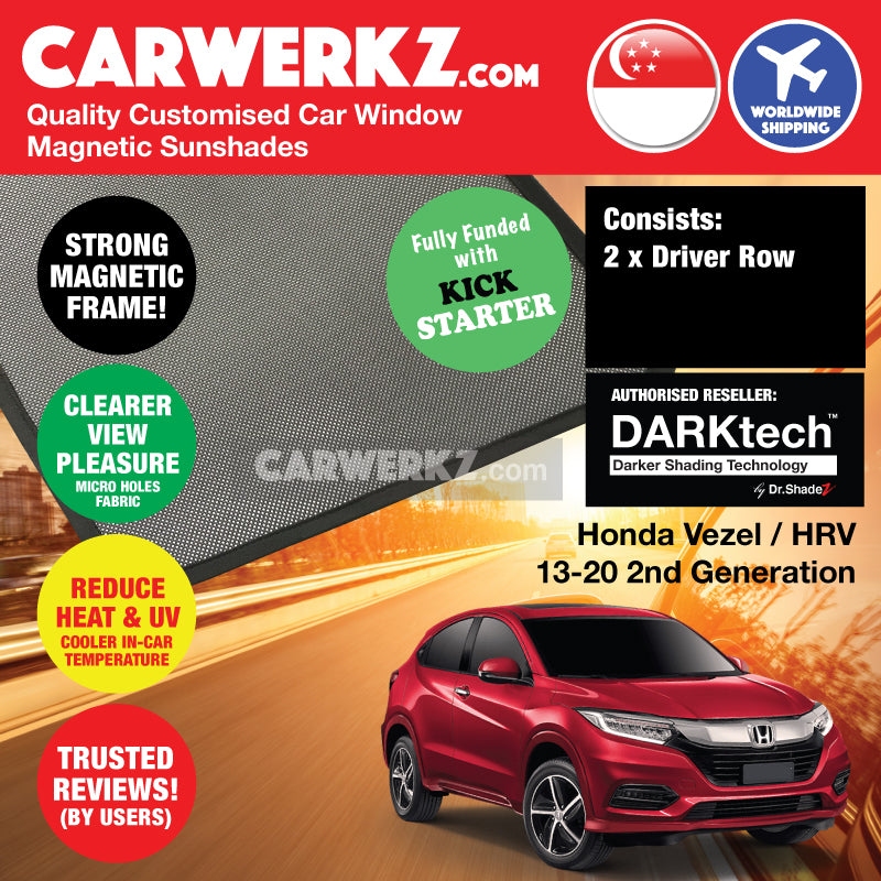 Dr Shadez DARKtech Honda Vezel HR-V Petrol Hybrid 2013-2019 2nd Generation Japan Subcompact Crossover Customised Car Window Magnetic Sunshades Driver Windows 2 Pieces - carwerkz sg