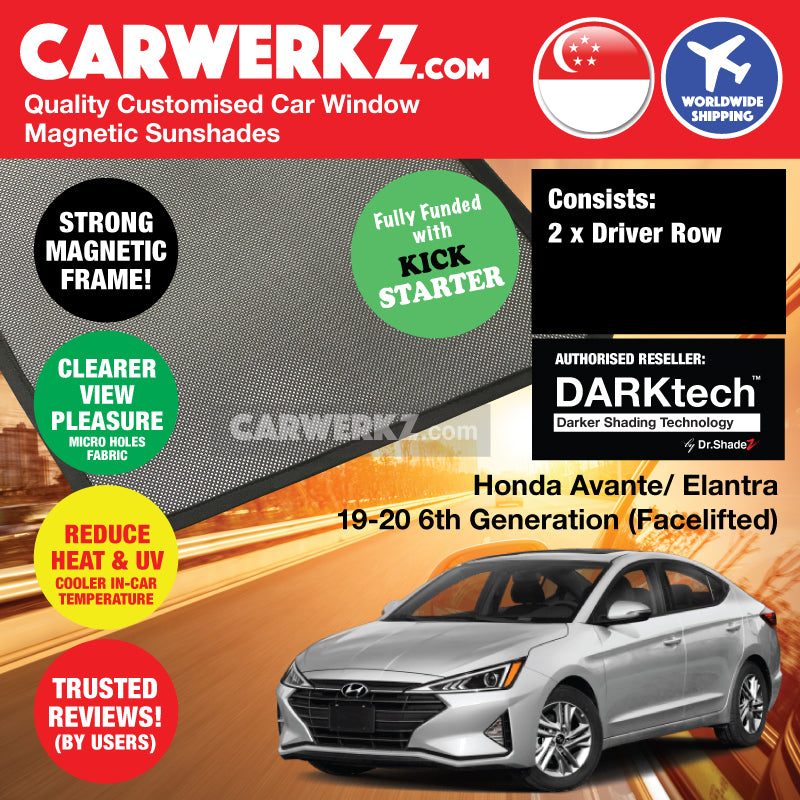 DARKtech Hyundai Avante Elantra 2019-2019 6th Generation (Facelift) Korean Car Customised Magnetic Sunshades Driver Windows 2 Pieces - CarWerkz