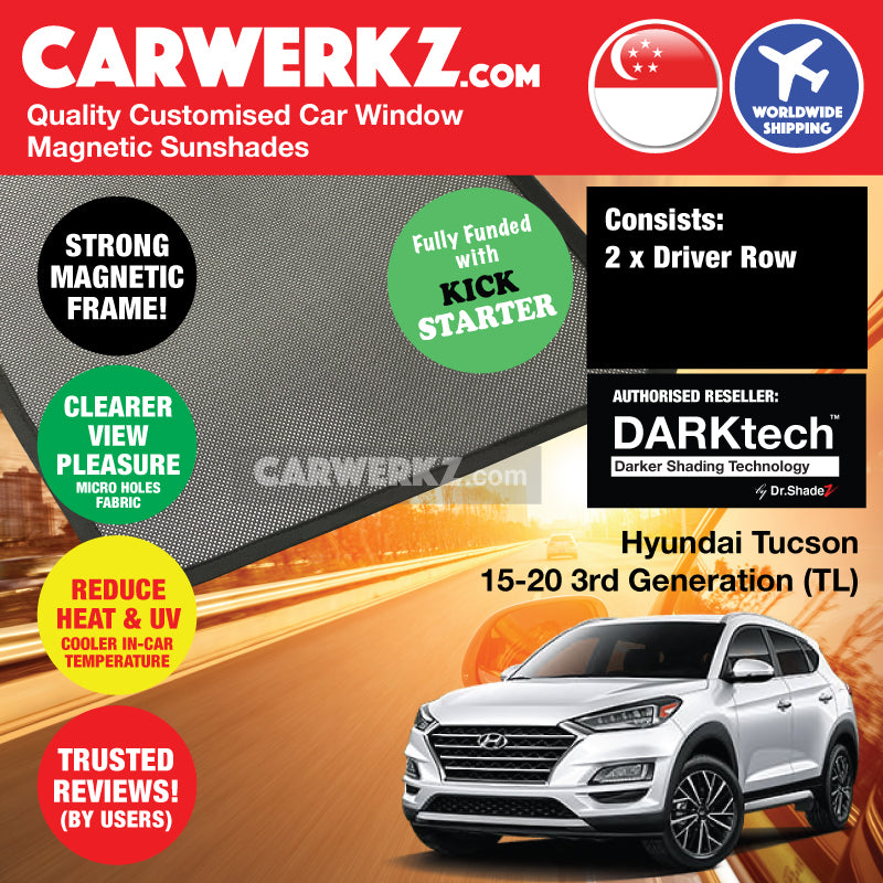 DARKtech Hyundai Tucson 2015-2020 3rd Generation (TL) Korea SUV Customised Car Window Magnetic Sunshades 2 pieces (Driver only) - CarWerkz