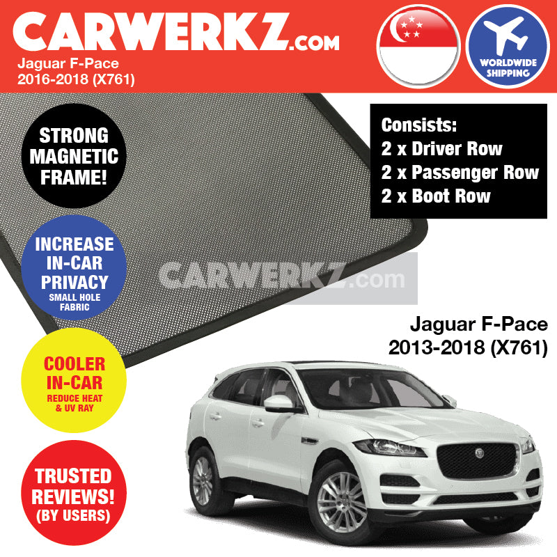 Jaguar F-Pace 2016-2019 (X761) Customised United Kingdom Luxury Compact Crossover SUV Magnetic Sunshade 6 pieces - CarWerkz