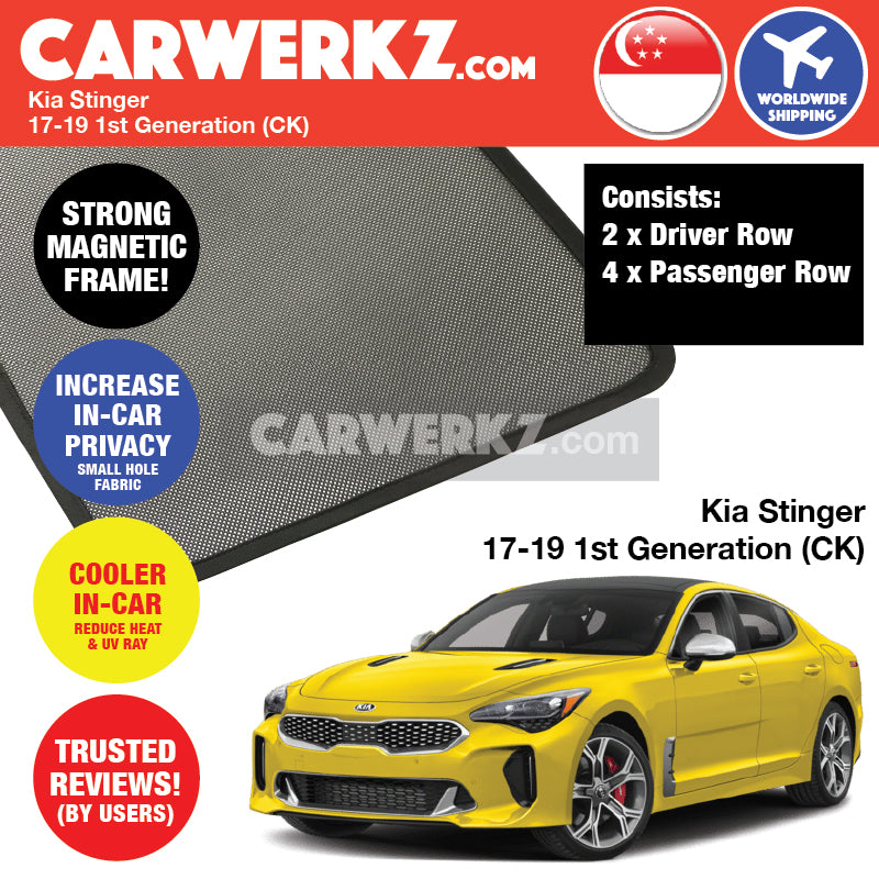 Kia Stinger 2017-2019 1st Generation (CK) Customised Car Window Magnetic Sunshades 6 Pieces - CarWerkz