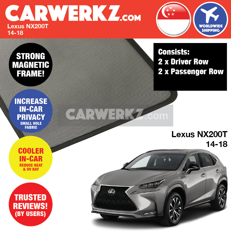 Lexus NX200T 2014-2018 Customised Subcompact SUV Magnetic Sunshade 4 Pieces - CarWerkz