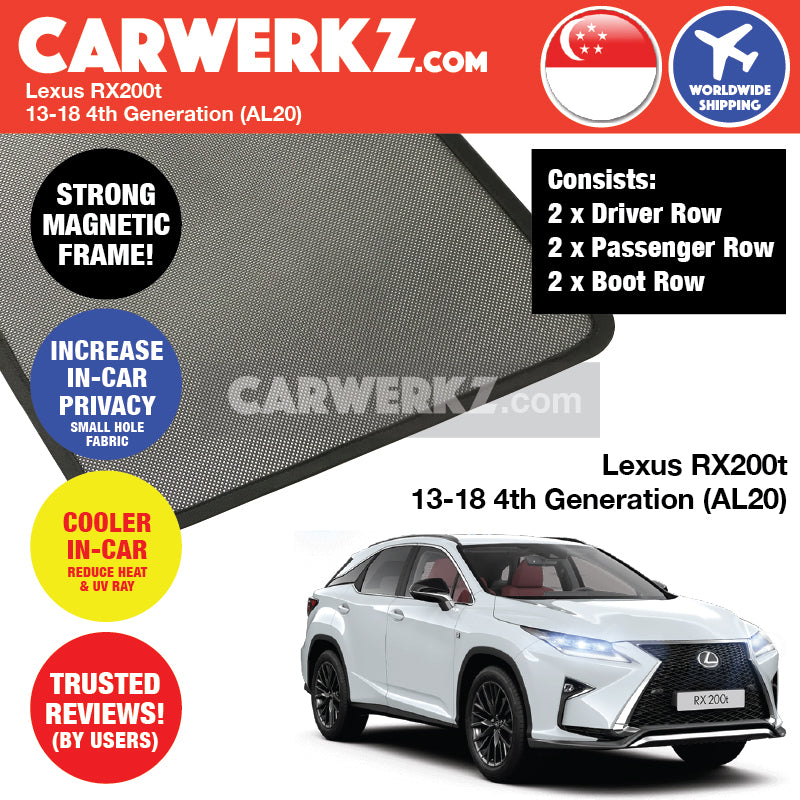 Lexus RX200T 2013-2018 4th Generation (AL20) Customised Luxury SUV Magnetic Sunshades 6 Pieces - CarWerkz