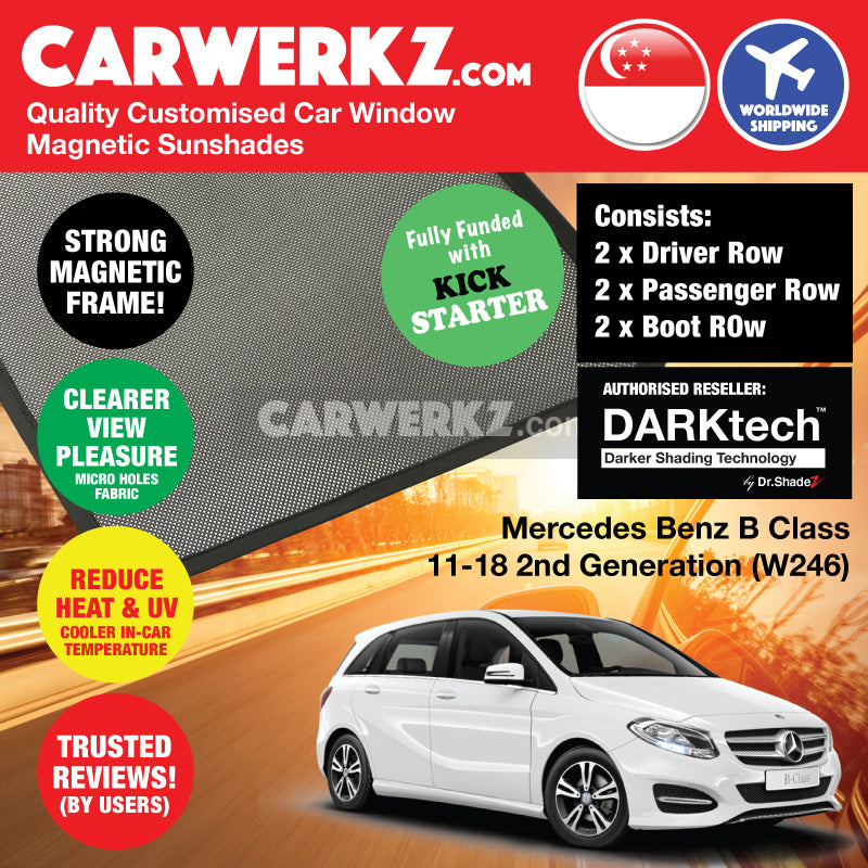DARKtech Mercedes Benz B Class 2011-2018 2nd Generation (W246) Germany Hatchback Customised Car Window Magnetic Sunshades - carwerkz singapore sg germany de australia au side windows