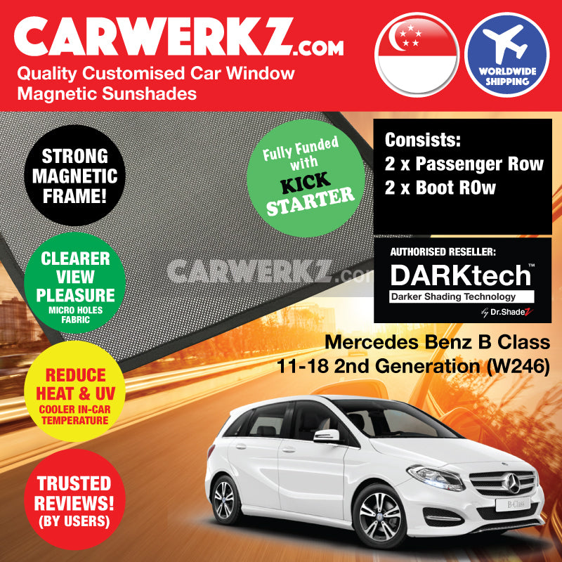 DARKtech Mercedes Benz B Class 2011-2018 2nd Generation (W246) Germany Hatchback Customised Car Window Magnetic Sunshades - carwerkz singapore sg germany de australia au passenger windows
