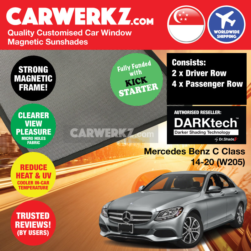 DARKtech Mercedes Benz C Class 2014-2019 (W205) Germany Compact Executive Customised Car Window Magnetic Sunshades Side Windows 6 Pieces - CarWerkz