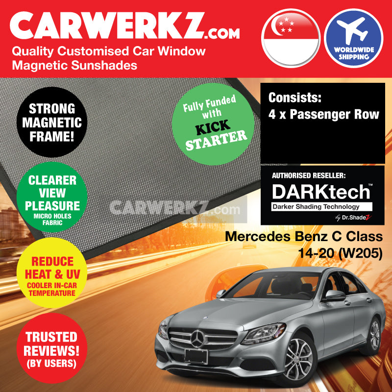 DARKtech Mercedes Benz C Class 2014-2020 (W205) Germany Compact Executive Customised Car Window Magnetic Sunshades - CarWerkz