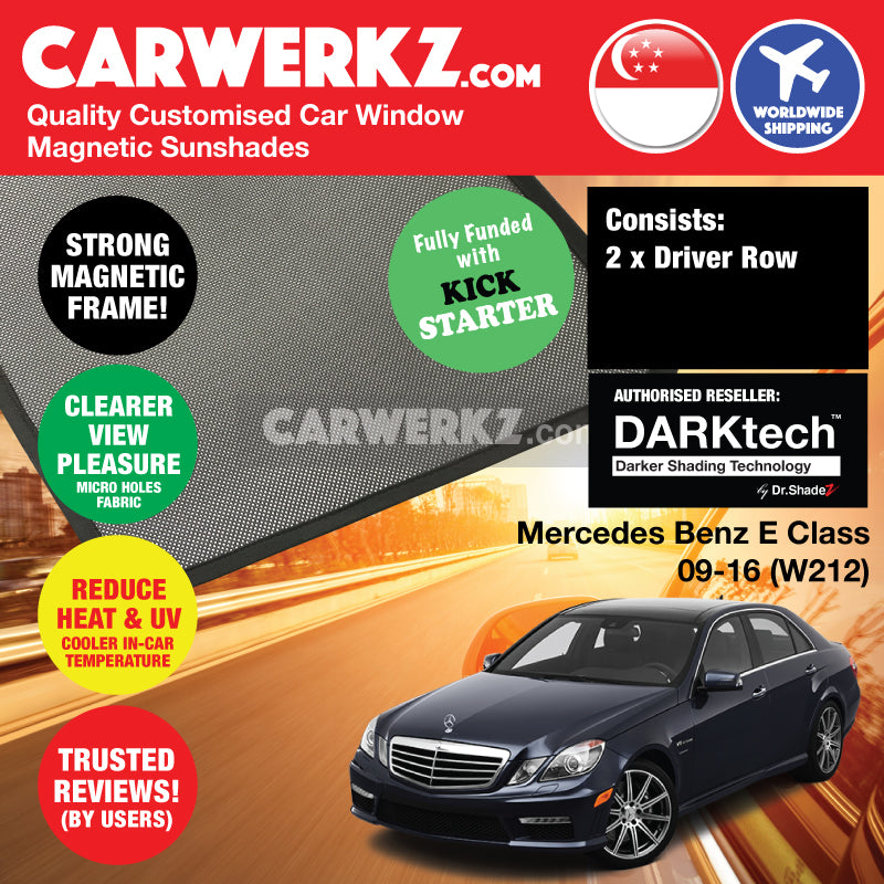 DARKtech Mercedes Benz E Class 2009-2016 4th Generation (W212) Germany Executive Sedan Customised Car Window Magnetic Sunshades - carwerkz singapore germany australia malaysia driver windows