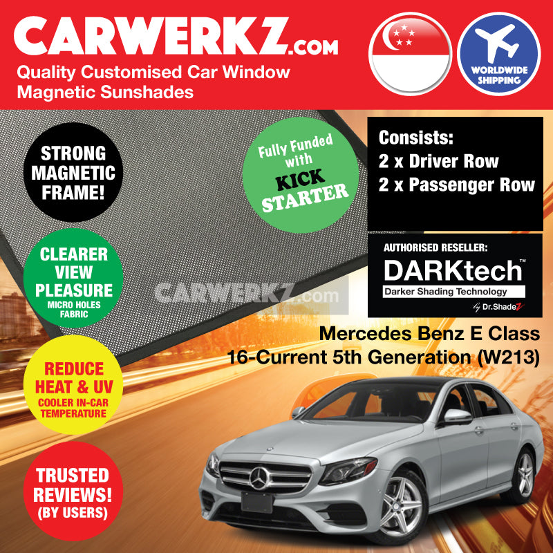 DARKtech Mercedes Benz E Class 2016-Current 5th Generation (W213) Germany Executive Sedan Customised Car Window Magnetic Sunshades - carwerkz singapore Australia Germany morocco Finland car windows