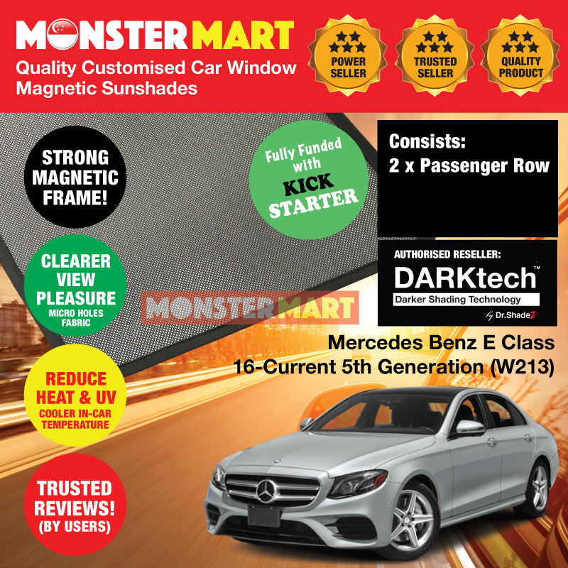 DARKtech Mercedes Benz E Class 2016-Current 5th Generation (W213) Germany Executive Sedan Customised Car Window Magnetic Sunshades - carwerkz singapore Australia Germany morocco Finland passenger windows