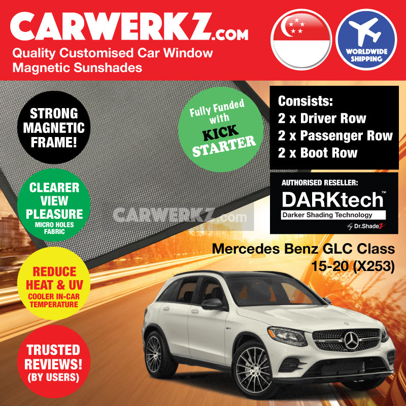 DARKtech Mercedes Benz GLC Class 2015-2019 (X253) Germany Compact Luxury SUV Customised Car Window Magnetic Sunshades Side Windows 6 Pieces - CarWerkz