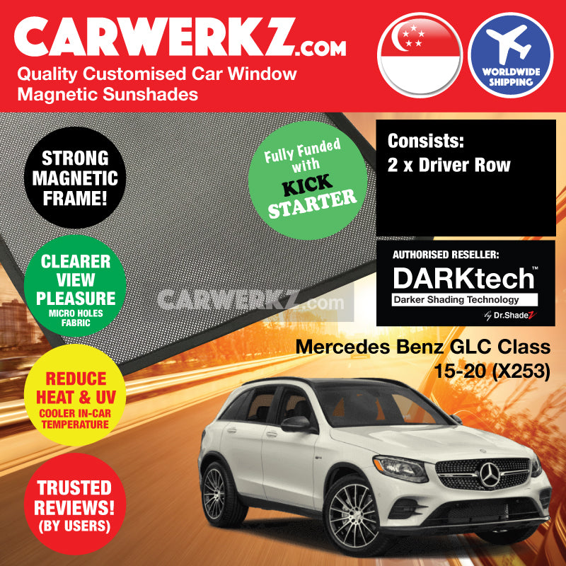 DARKtech Mercedes Benz GLC Class 2015 2016 2017 2018 2019 (X253) Germany Compact Luxury SUV Customised Car Window Magnetic Sunshades Driver Windows 2 Pieces - carwerkz sg my au th nz ir it mc de