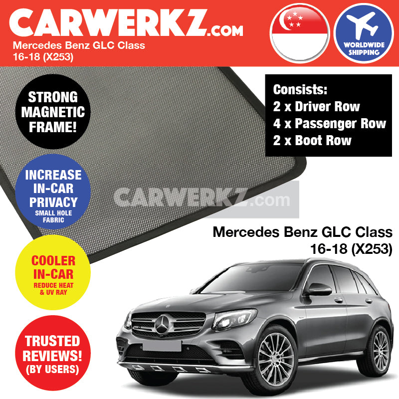 Mercedes Benz GLC Class 2016-2018 (X253) Customised Car Window Magnetic Sunshades - CarWerkz
