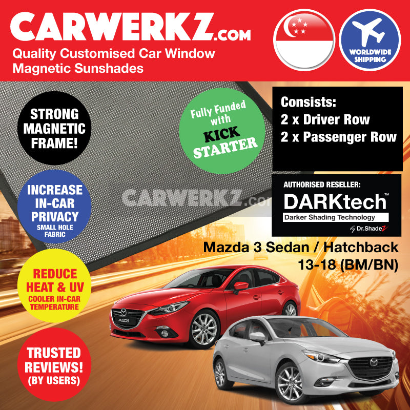 DARKtech Mazda 3 Axela Sedan Hatchback 2013-2018 3rd Generation (BM BN) Japan Automotive Customised Car Window Magnetic Sunshades - CarWerkz