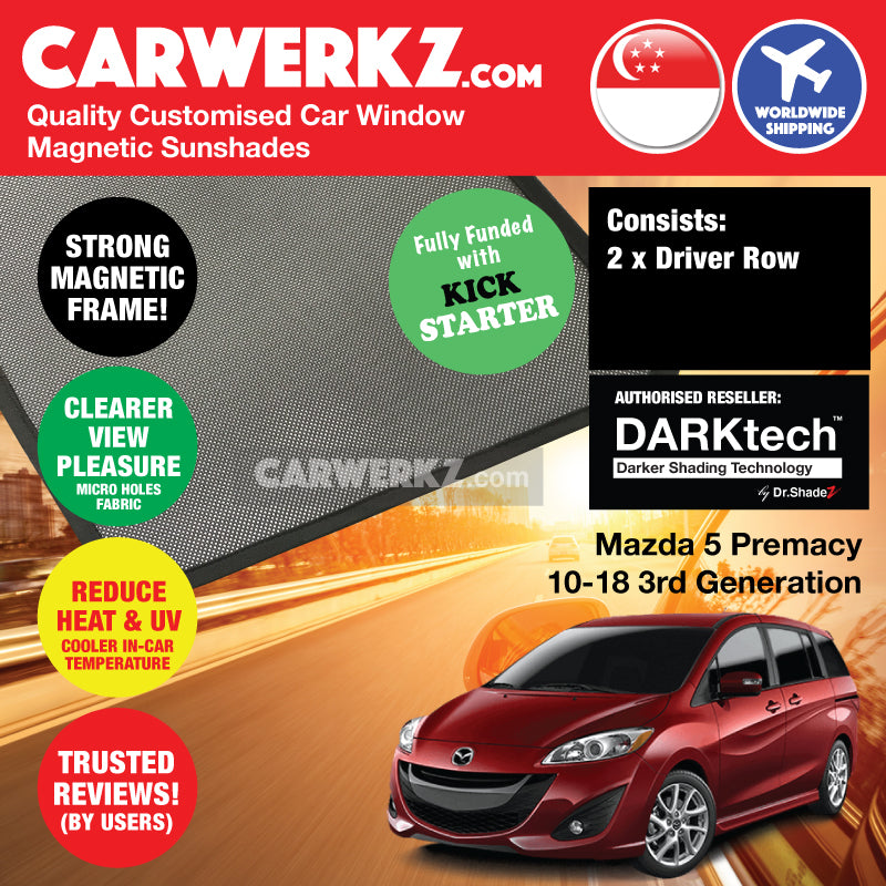 DARKtech Mazda 5 Premacy 2010-2018 3rd Generation Japan Compact MPV Customised Car Window Magnetic Sunshades - CarWerkz