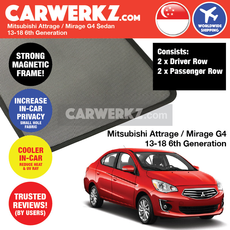 Mitsubishi Attrage / Mirage Sedan 2015-2019 6th Generation Customised Car Window Magnetic Sunshades 4 Pieces - CarWerkz