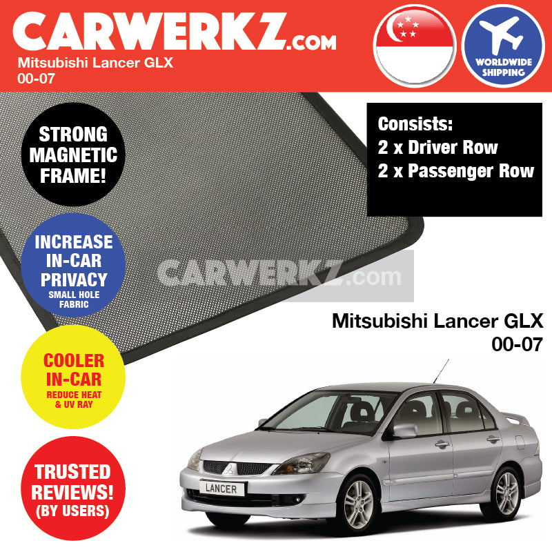Mitsubishi Lancer GLX 2000-2010 8th Generation Japan Sedan Customised Car Window Magnetic Sunshades - CarWerkz