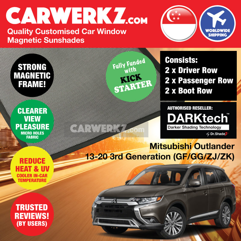 DARKtech Mitsubishi Outlander 2013-2019 3rd Generation Japan 7 Seater Crossover Customised SUV Window Magnetic Sunshades Side Windows 6 Pieces - CarWerkz