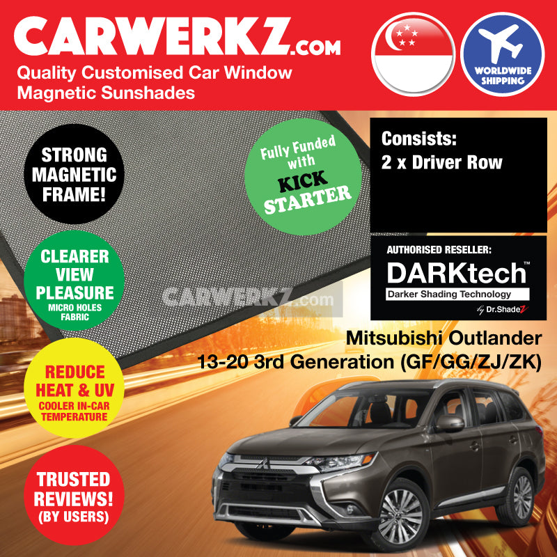 DARKtech Mitsubishi Outlander 2013 2014 2015 2016 2017 2018 2019 3rd Generation Japan 7 Seater Crossover Customised SUV Window Magnetic Sunshades Driver Windows 2 Pieces - carwerkz sg th vn br my in ph