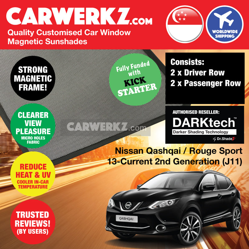 DARKtech Nissan Qashqai Rouge Sport 2013-Current 2nd Generation (J11) Japan Compact Crossover Customised SUV Window Magnetic Sunshades - carwerkz singapore australia japan