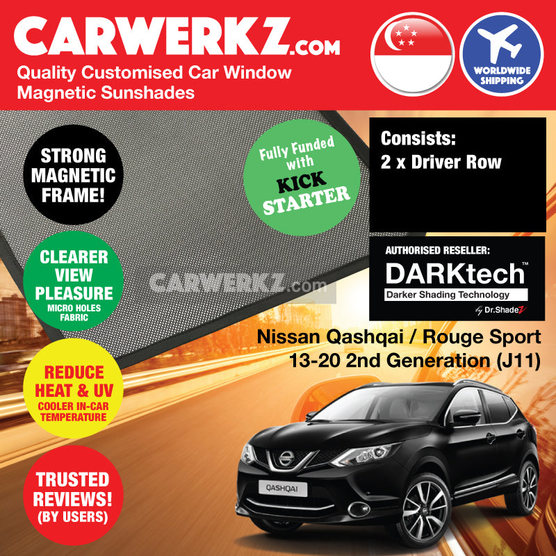 Dr Shadez DARKtech Nissan Qashqai Rouge Sport 2013 2014 2015 2016 2017 2018 2019 2nd Generation (J11) Japan Compact Crossover Customised SUV Window Magnetic Sunshades Driver Windows 2 Pieces - carwerkz sg th vn br ph jp it fr de